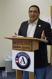J.R. LaPlante speaks during the AmeriCorps 20th Anniversary celebration at the Red Cloud school in South Dakota. Corporation for National and Community Service Photo.