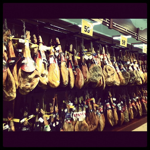 Wall of pigs legs - yummy jambon