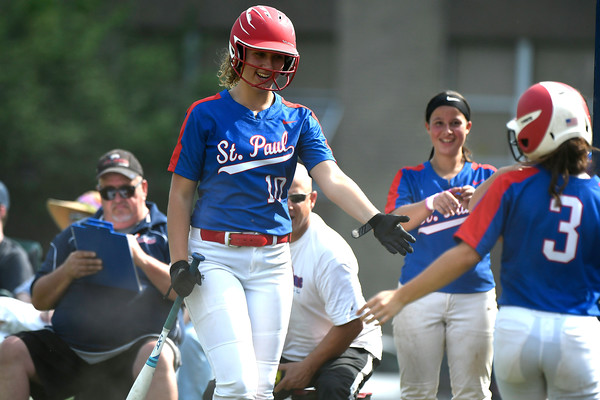 5/29/2018 Mike Orazzi | Staff St. Paul's Rebecca Nerbonne (10) during Tuesday's Class S First Round softball game with Windsor Locks in Bristol.