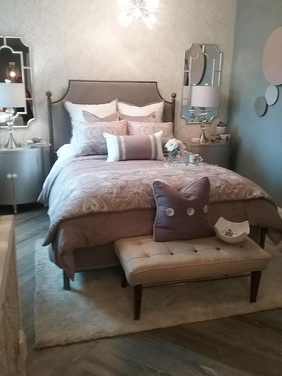 . The lower level guest bedroom designed by Karen Koeth of KSA Design in Concord Township. (Jean Bonchak)