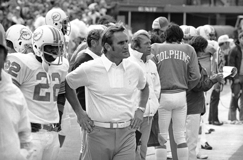 . Miami Dolphins coach Don Shula on Jan. 3, 1973, has been named National Football League coach of the year by the Associated Press. His team is so far undefeated, winning 14 regular season games, and two post season divisional contests. They will face the Washington Redskins in the Super Bowl on January 14. (AP Photo)