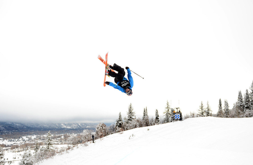 . ASPEN, CO. - JANUARY 27: Nick Goepper warms up for the Ski Slopestyle Men\'s Final, January 27, 2013. Goepper got gold in the event at the 2013 Winter X Games at Buttermilk Mountain in Aspen. (Photo By RJ Sangosti / The Denver Post)
