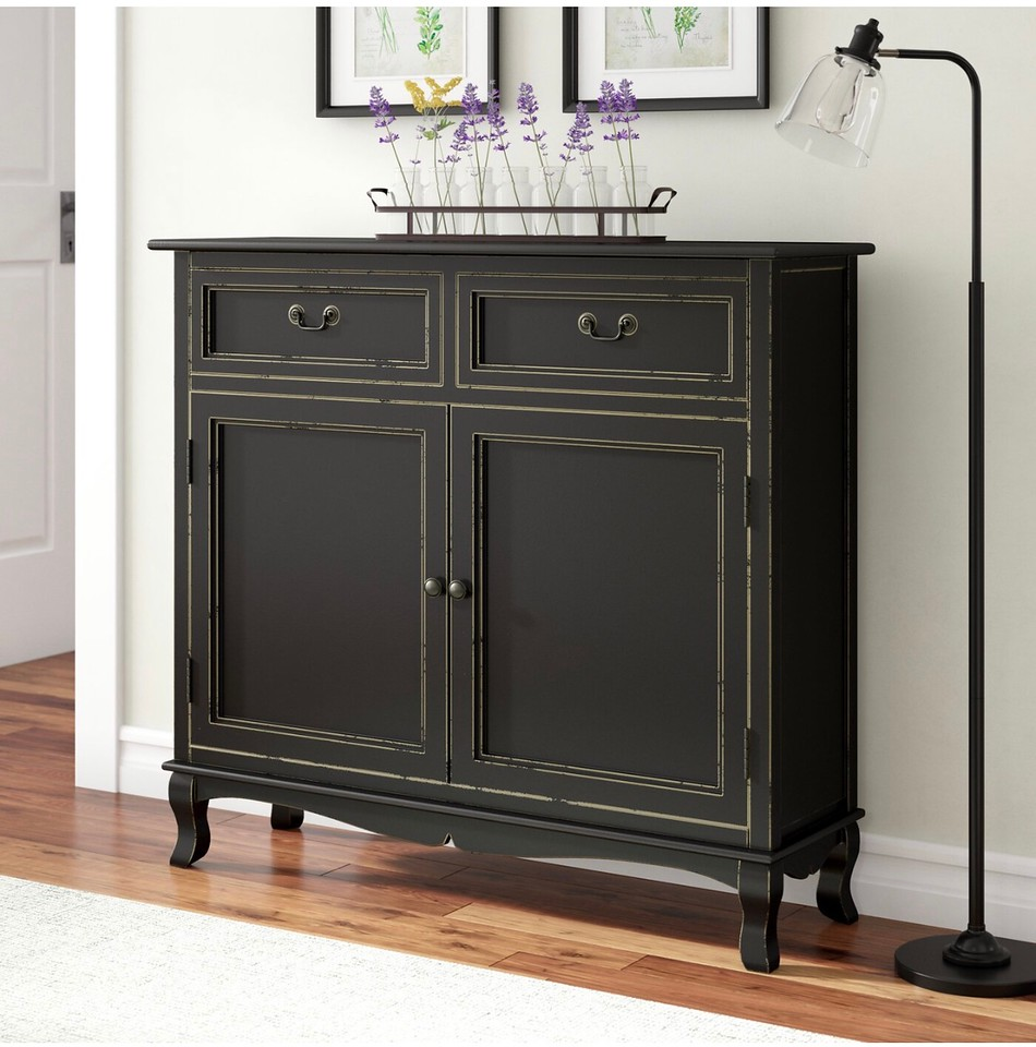 Wayfair sideboard with shallow depth for entrance organization in tight spaces.