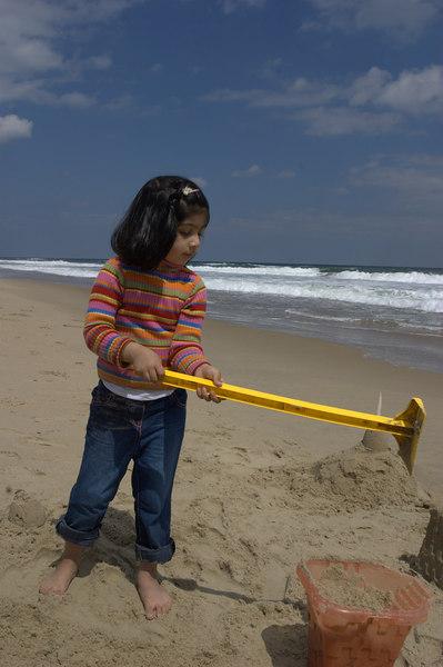 Sarah digging.