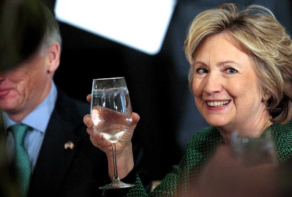 . Former Secretary of State Hillary Clinton raises her glass during a toast at a ceremony to induct her into the Irish America Hall of Fame on March 16, 2015 in New York City.   (Photo by Yana Paskova/Getty Images)