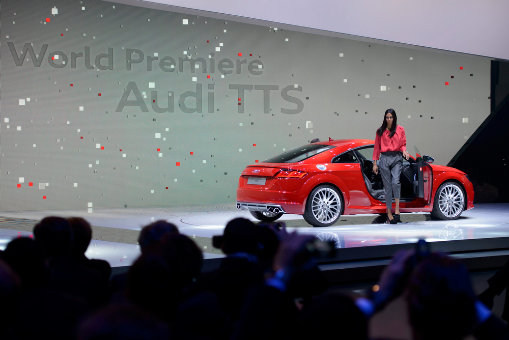Description of . The new Audi TTS is presented during the press day at the 84rd Geneva International Motor Show in Geneva, Switzerland, Tuesday, March 4, 2014. The Motor Show will open its gates to the public from 06 to 16 March presenting more than 250 exhibitors and more than 146 world and European premieres.  EPA/MARTIAL TREZZINI