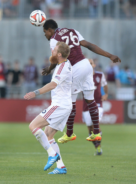 . COMMERCE CITY, CO - AUGUST 2: Colorado forward Deshorn Brown got his head on the ball in the first half.  Real Salt Lake defeated the Colorado Rapids 1-0 at Dick\'s Sporting Goods Park Saturday night, August 2, 2014.  Photo by Karl Gehring/The Denver Post