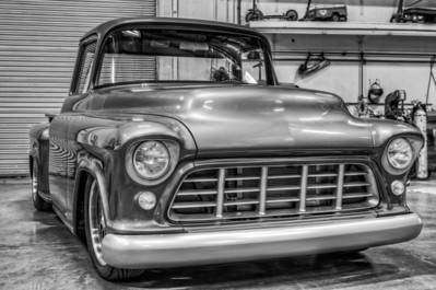 55 Chevy Truck Black & White Chrome