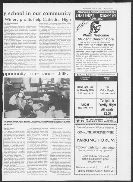 Daily Trojan, Vol. 100, No. 56, April 09, 1986