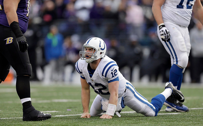 . Indianapolis Colts quarterback Andrew Luck (12) gets up from the turf during the second half of an NFL wild card playoff football game against the Baltimore Ravens Sunday, Jan. 6, 2013, in Baltimore. The Ravens won 24-9. (AP Photo/Patrick Semansky)