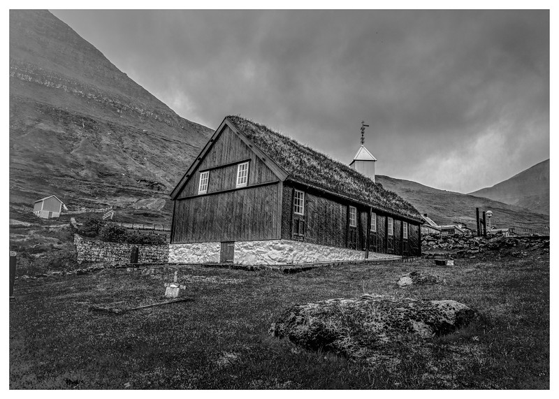Faroe Country Church  2         Black and White Photography by Wayne Heim