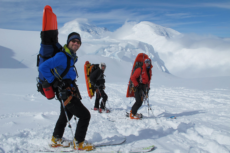 """Enjoyable skiing down to """"cash in"""" site with empty backpacks..."""
