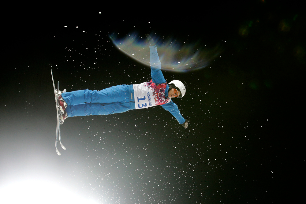 . Alla Tsuper, of Belarus, competes during the women\'s freestyle skiing aerials final at the Rosa Khutor Extreme Park, at the 2014 Winter Olympics, Friday, Feb. 14, 2014, in Krasnaya Polyana, Russia. Tsuper won the gold medal. (AP Photo/Jae C. Hong)