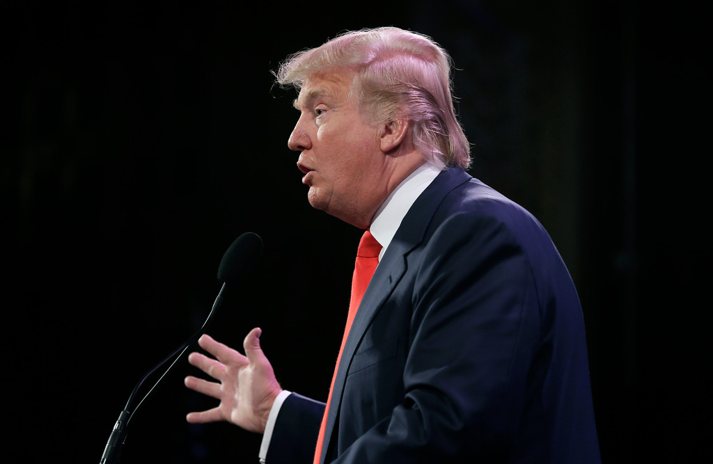 . Donald Trump speaks during the Freedom Summit, Saturday, Jan. 24, 2015, in Des Moines, Iowa. (AP Photo/Charlie Neibergall)