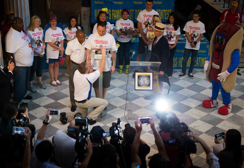 . Joey Chestnut weights in for the Nathan\'s Famous Hotdog eating contest Monday, July 3, 2017, in Brooklyn, New York. Chestnut weight in at 221.5 and will be defending his title from Matt Stonie who has defeat Chestnut in the past. (AP Photo/Michael Noble)