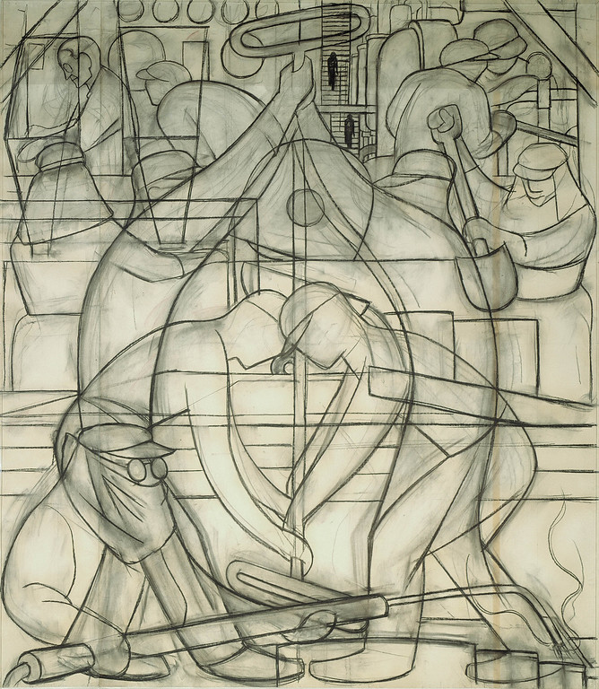 . Preparatory Drawing for Commercial Chemical Operations (Detroit Industry south wall), Diego Rivera, 1932, charcoal on paper. Detroit Institute of Arts
