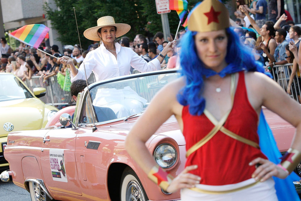. Lynda Carter, who played Wonder Woman on television, is the grand marshal for the gay-pride themed Capital Pride Parade in Washington, June 8, 2013. REUTERS/Jonathan Ernst