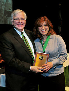 President Kopp (left)  and Dr. Tina J. Cartwright, assistant professor of education, Pickens-Queen Excellence in Teaching Award