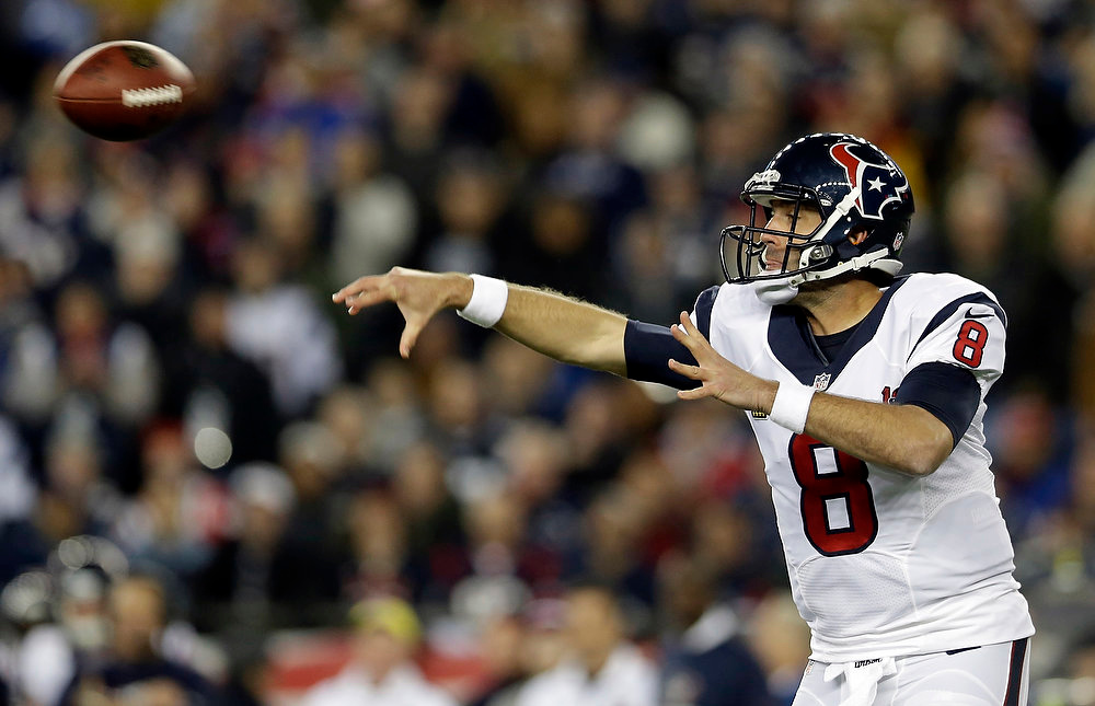 Description of . Houston Texans quarterback Matt Schaub passes during the first half of an AFC divisional playoff NFL football game against the New England Patriots in Foxborough, Mass., Sunday, Jan. 13, 2013. (AP Photo/Elise Amendola)
