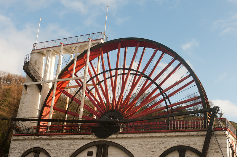 Closer shot of the wheel at the Laxey Wheel - Isle of Man