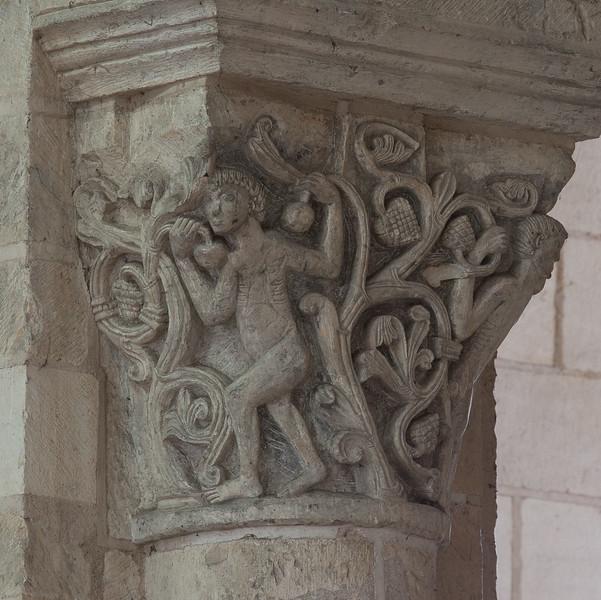 Saint-Benoit-sur-Loire Abbey Choir Capital, Men Among Acanthus Leaves