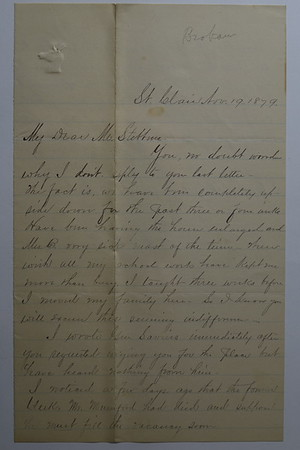 Brokaw letters to Cortland Bliss Stebbins 1870s 1880s_1