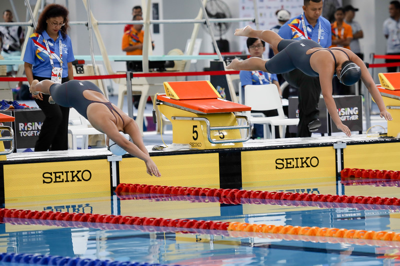 PARA SWIMMING - DANIELLE YAN TING MOI & ZI LING CHEW in action & representing Singapore in Women's 100 LC Meter Freestyle S14 Finals at Aquatics Centre, KL on September 19th, 2017 (Photo by Sanketa Anand)