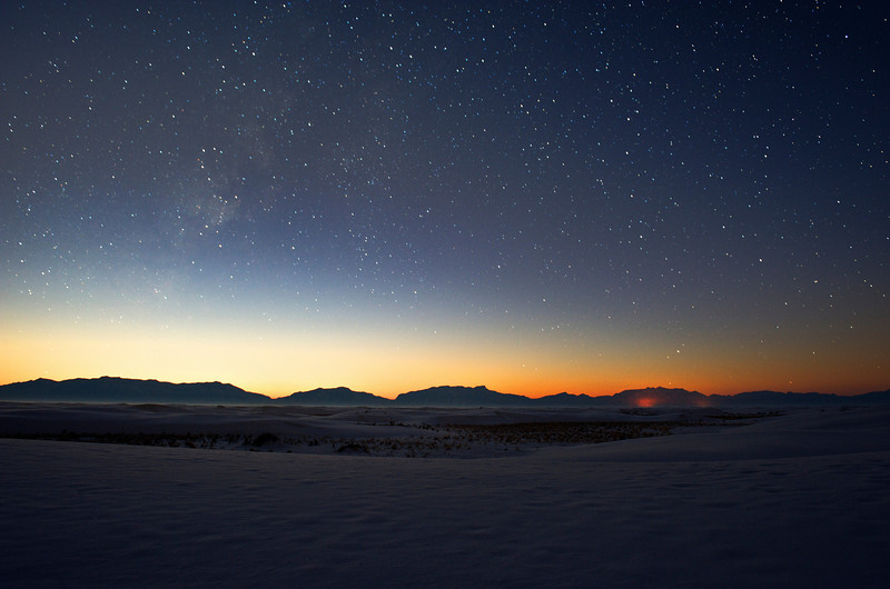 Snow On White Sands At Night