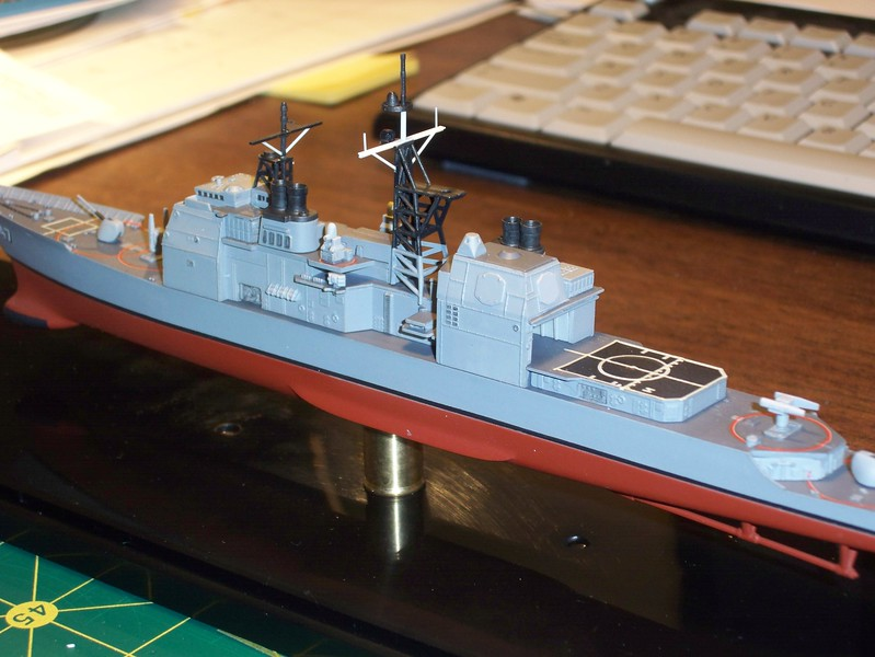 090112: CG-47, with her new hull and rebuilt mast, sitting atop her display pedestal.