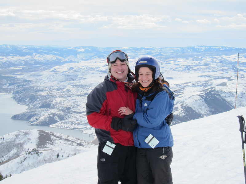 """She said """"yes"""" here, atop Bald Mountain overlooking the Jordanelle Reservoir."""