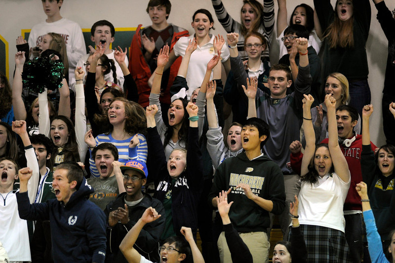. Machebeuf fans went wild when the Buffaloes tightened the game late in the fourth quarter. The Kent Denver High School boy\'s basketball team defeated Bishop Machebeuf 77-75 Tuesday night, January 15, 2013. Karl Gehring/The Denver Post