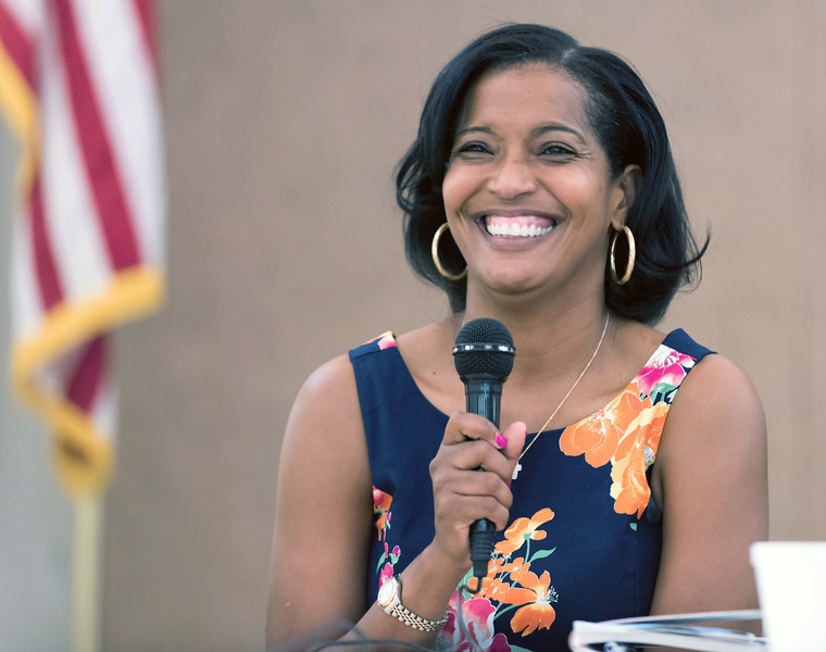 08/09/18  Wesley Bunnell   Staff  The New Britain Senior Center held a Meet The Candidates Meet & Greet for candidates of Connecticut's 5th Congressional District on Thursday afternoon. Democrat Jahana Hayes laughs while answering a question from the audienc.e