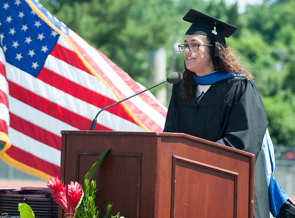 06/19/18 Wesley Bunnell | Staff NBHS Acting Principal Kerry-Lynn Major gives the Charge to the Graduates as NBHS held their graduation exercises at Veterans' Memorial Stadium at Willow Brook Park on Tuesday morning.