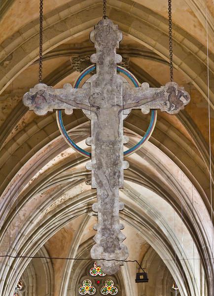 Kloster Schulpforta, Kirche. Triumphkreuz (um 1250) mit Evangelistensymbolen
