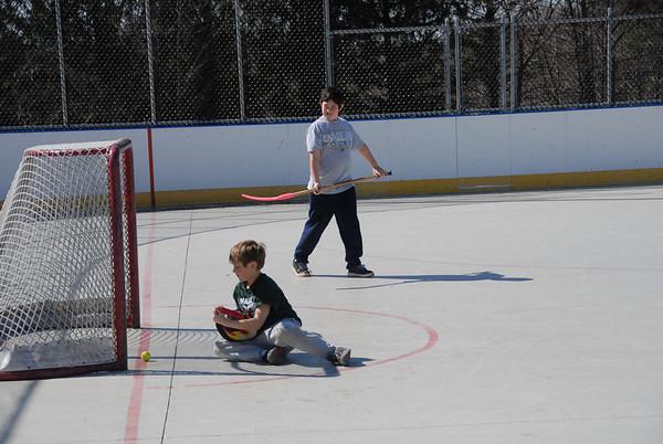 2012-03-11 Jordan and Eli Hockey at Morris County Central Park