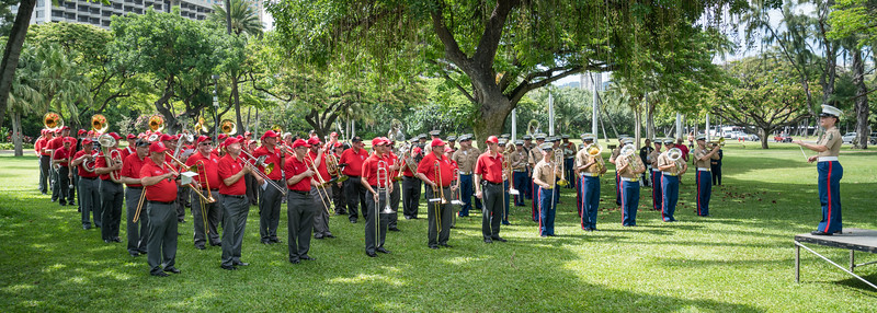GySgt Espinoza addresses the combined bands