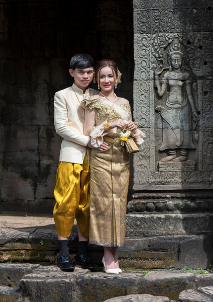 Newlyweds at Bayon Temple