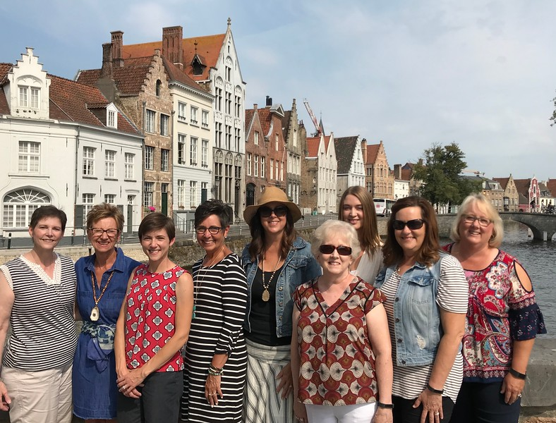 Momma, Debbie, Me, Susan, Laura, Vickie, Rebecca, Suzy and Bambi after we finished our photography tour of Bruges