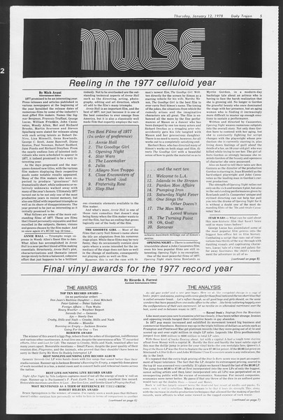 Daily Trojan, Vol. 72, No. 63, January 12, 1978