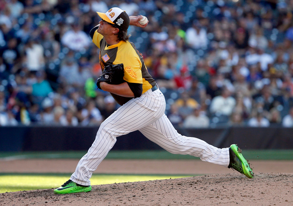 . U.S. Team\'s Carson Fulmer, of the Chicago White Sox, throws against the World Team during the eighth  inning of the All-Star Futures baseball game, Sunday, July 10, 2016, in San Diego. (AP Photo/Lenny Ignelzi)