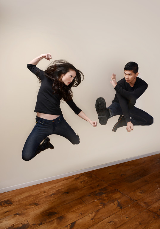 . Actors Julie Estelle and Iko Uwais pose for a portrait during the 2014 Sundance Film Festival at the Getty Images Portrait Studio at the Village At The Lift on January 22, 2014 in Park City, Utah.  (Photo by Larry Busacca/Getty Images)