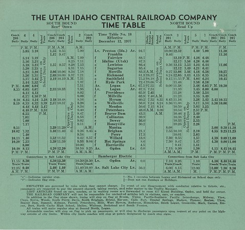 Utah Idaho Central Timetables