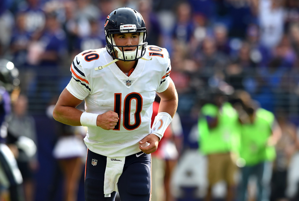 . Chicago Bears quarterback Mitchell Trubisky runs on the field in the second half of an NFL football game against the Baltimore Ravens, Sunday, Oct. 15, 2017, in Baltimore. (AP Photo/Gail Burton)
