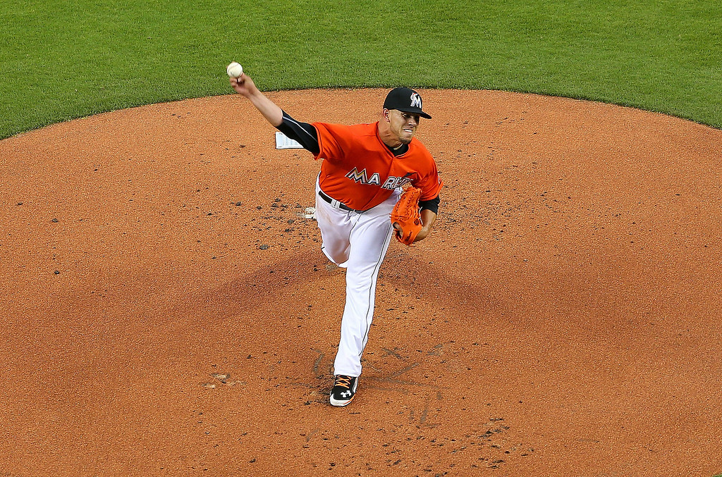 . Jose Fernandez #16 of the Miami Marlins pitches during Opening Day against the Colorado Rockies at Marlins Park on March 31, 2014 in Miami, Florida.  (Photo by Mike Ehrmann/Getty Images)