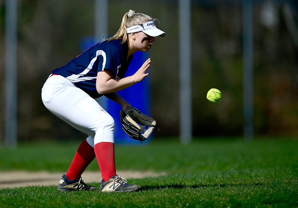 4/17/2019 Mike Orazzi | Staff St. Paul softball's Ava Hampton (4) during Wednesday's game with Watertown in Bristol.