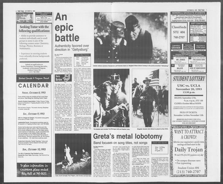 Daily Trojan, Vol. 121, No. 28, October 08, 1993