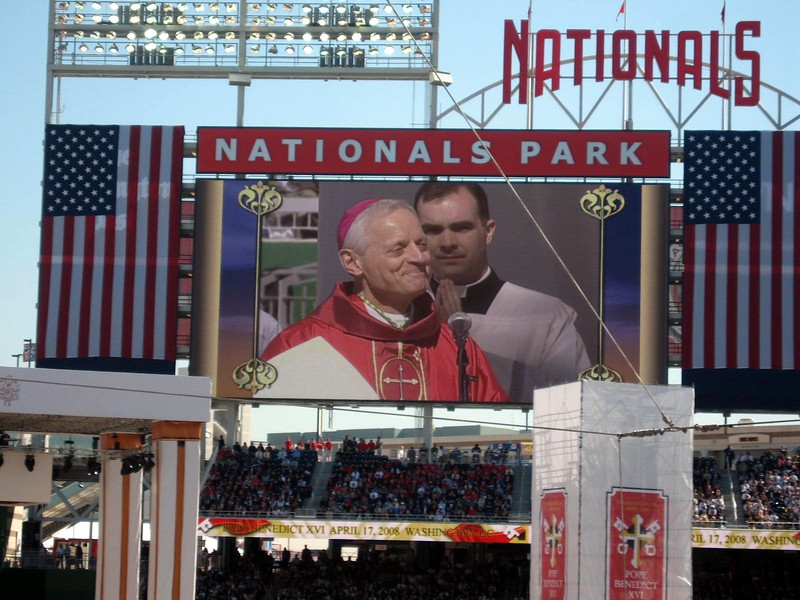 Archbishop of Washington Donald W. Wuerl welcomes Pope Benedict XVI