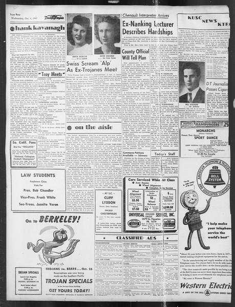 Daily Trojan, Vol. 39, No. 18, October 08, 1947