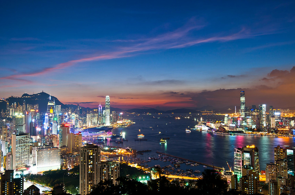Night view from Braemar Hill, Hong Kong