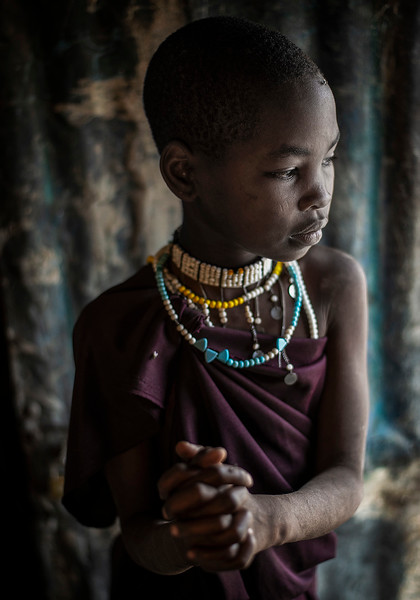 Portrait of a little girl from the Datoga tribe.  Tanzania, 2019